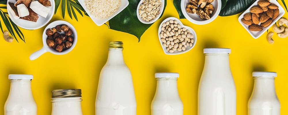 Milk alternatives from coconut and oat to soy and almond.