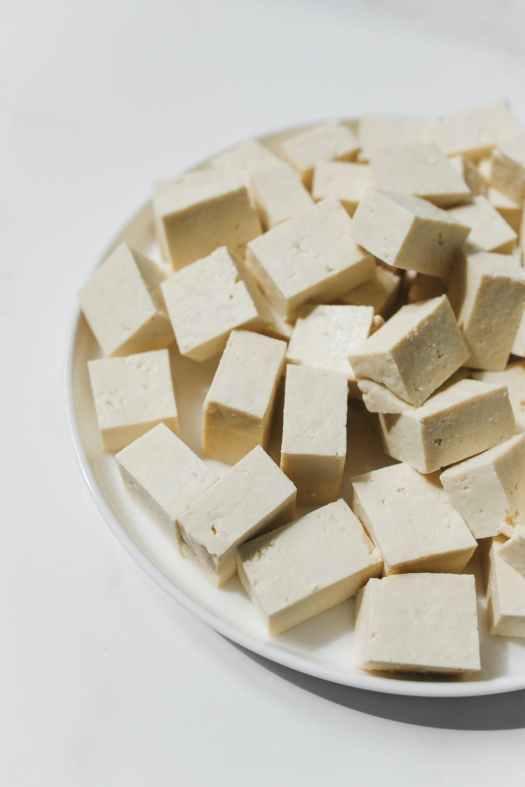 photo of tofu on white ceramic plate