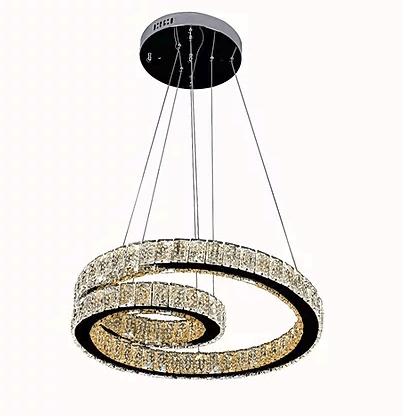 Hanging swirl crystal chandelier