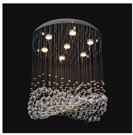 Wavy Beaded Crystal Chandelier