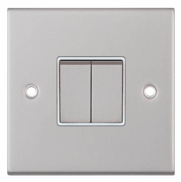 Satin chrome switch with white insert around rocker switch