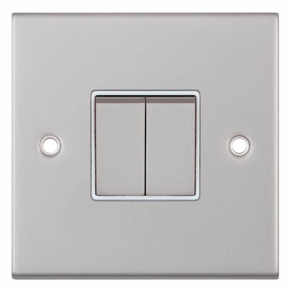 Satin chrome switch with white insert around rocker switch