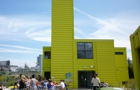 "A Shipping Container Cafe  ""View Tube"" on the London Olympic Site"