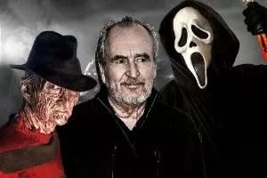 Wes Craven con due dei suoi personaggi famosi