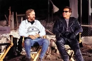 James Cameron con Arnold Schwarznegger