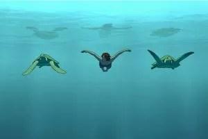 La tartaruga rossa scena film