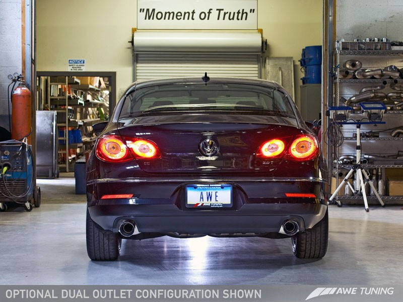 awe touring edition exhaust for vw cc 2 0t dual outlet chrome silver tips