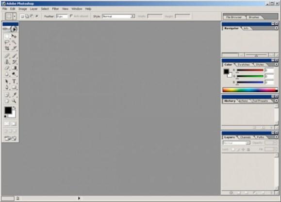 2002 - Adobe Photoshop versão 7.0 - área de trabalho