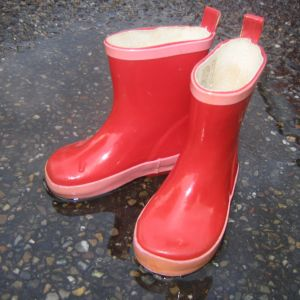red boots for walking to school