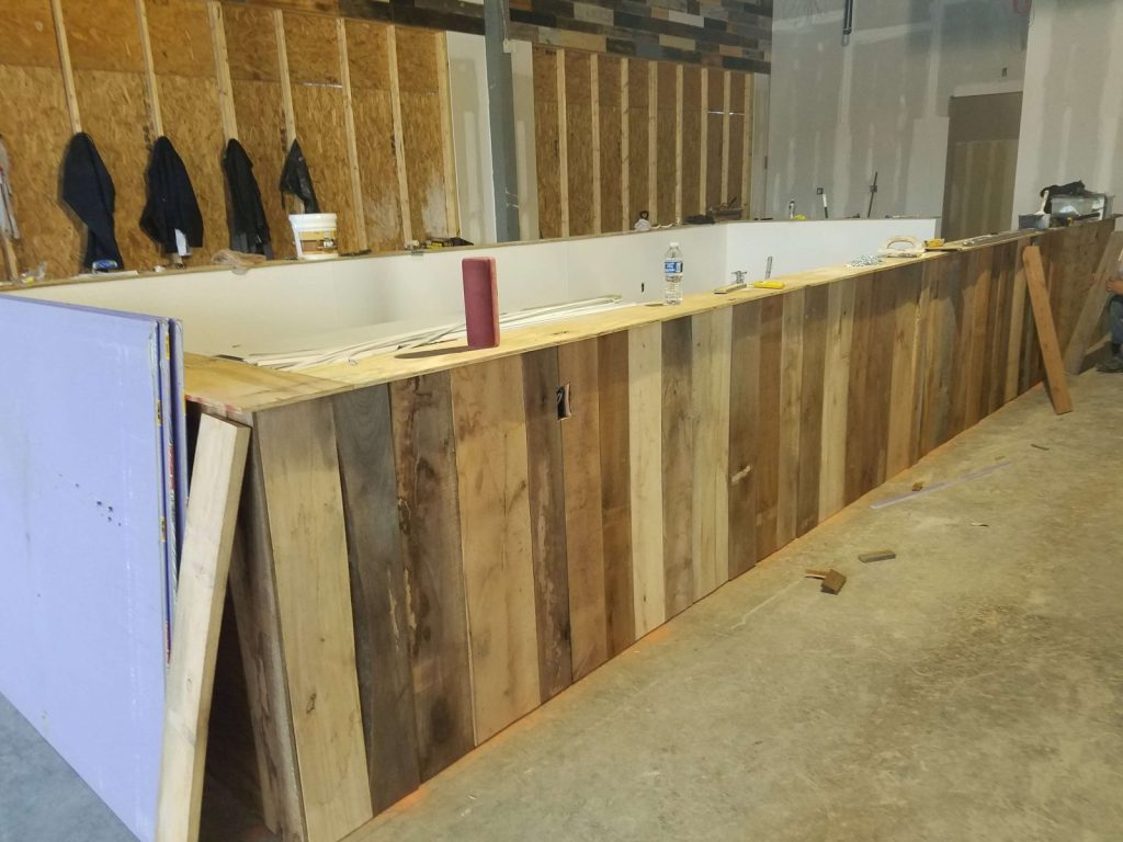 wood walls and bar tops ship lap