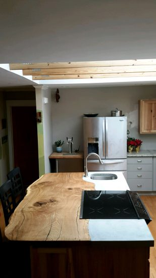 live edge oak slab kitchen island