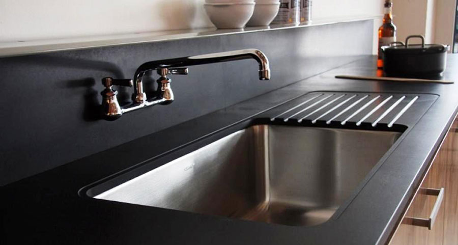 kitchen counters moen pullout faucet counter options durable and healthy ecohome recycled paper top