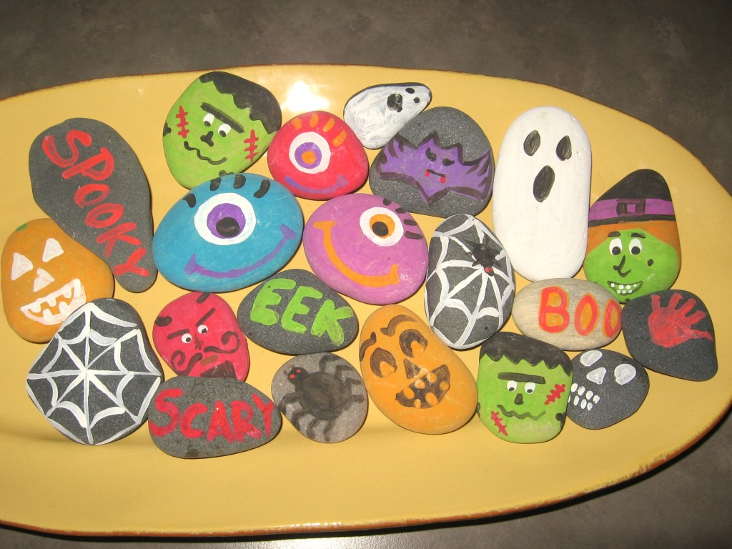 You know those plastic things you get with plants that you buy from the store? Halloween Rock Painting Kids Art Project