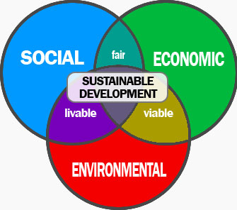 The pillars of the sustainable development and their common zones.