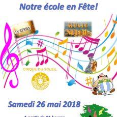 La fête de l'école : samedi 26 mai dès 11 heures