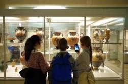 Admiration devant les céramiques grecques