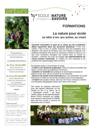 Formations La nature pour école – 2021