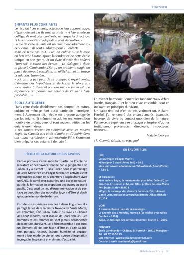 Article sur Caminando dans le magazine Rebelle-Santé 212 (2/2)