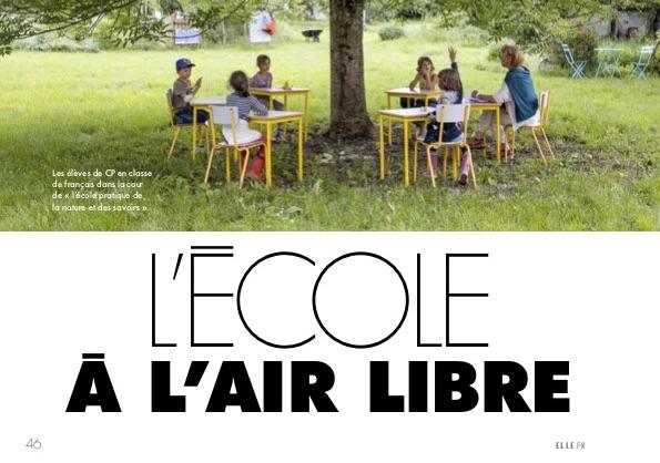 L'école à l'air libre – Magazine Elle du 29 mai 2020