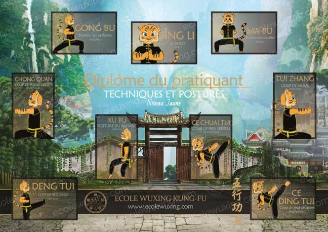 Diplome des techniques et postures de base du Kung-Fu Wushu - Ji Ben Gong niveau jaune