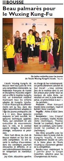 Article Républicain Lorrain - Trophee Kung-Fu Kid Bischeim Alsace