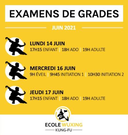 Examens de grades - planning juin 2021 - Ecole Wuxing Kung-Fu