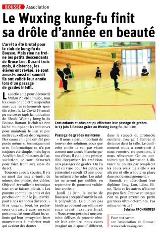 Article Républicain Lorrain Kung-Fu Bousse Covid 17 06 2020