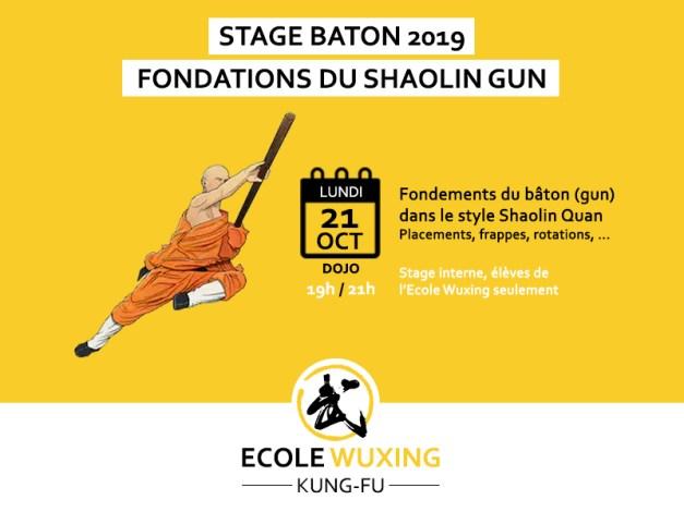 Stage baton shaolin gun fondations basics