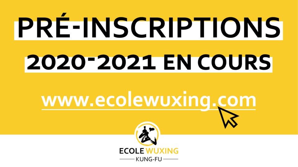 pré-inscriptions Kung-Fu 2020-2021