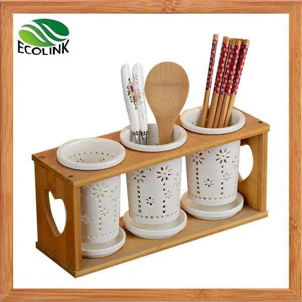 kitchen utensils holder white modern cabinets ceramics bamboo organizer caddy for utensil spatula manufacturers china customized products wholesale xiamen ebei