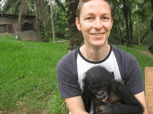 Eliot Schrefer and Oshwe at a Bonobo sanctuary outside of Kinshasa