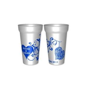 Gobelet romantiquede 25cl utile, en plastique réutilisable personnalisé : -la couleur - vos prénoms - la date.  - per