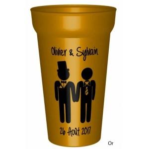 Gobelet couleuren plastique réutilisable personnalisé pour un mariage / pacs réussi : Vos prénoms et la date. -