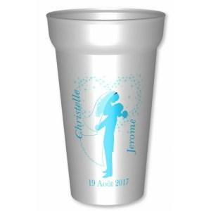 Gobelet personnalisé pour mariage, de25/33cl,en plastique blanc réutilisable : Personnalisez la couleu