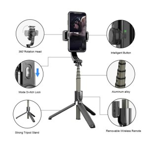 Wireless Bluetooth Selfie Stick Tripods Stabilizer Handheld Gimbal with Remote Palo Extendable Foldable Monopod Gimbal for Phone