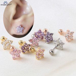 316l Surgical Steel With Clear Gem Zircon Flower Ear Tragus Bar Cartilage Earring Stud Piercing Fashion Jewelry For Sexy Girls