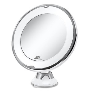 10x Magnifying Makeup Vanity Cosmetic Round Bathroom Mirrors with LED Light