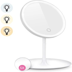 HOCOSY LED Lighted Makeup Mirror 3 Color Detachable 5X Magnification Mirror with Storage Tray