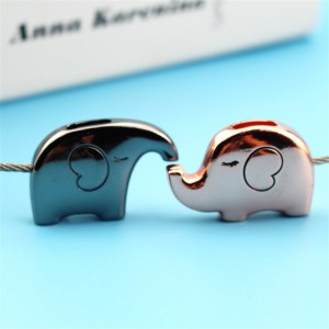 Stainless Steel Elephant Lover Keychain Couple Kiss Lover Key Chain Rings For Handbag Bag Backpack Design Gift Valentine's Day