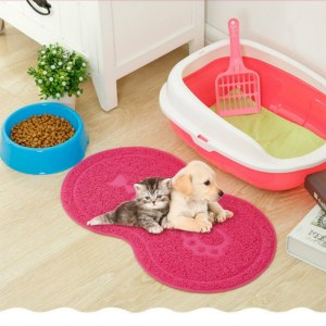 Pet Dog Puppy Cat Feeding Mat Pad Bone Shaped Cute Cat Dog Food Mat Water Feed Placemat Wipe Clean Pet Supplies 45*26cm 4 Color