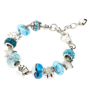 Fashion Women Girl Jewelry Ocean Shell Blue Crystal Glass Beads Chain Bangle Bracelet Birthday Christmas Valentines Day Gift