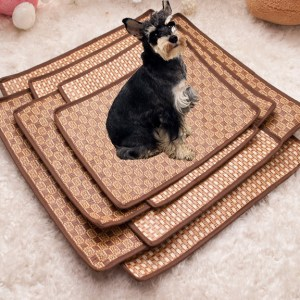 Pet Dog Cat Hot Summer Cooling Bed Rattan Tatami Bamboo Cozy Sleep Pad Mat Multiuse Tatami Seat
