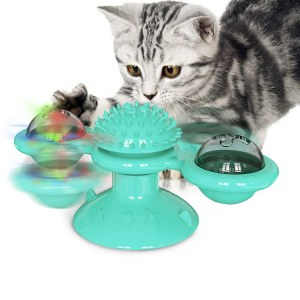 Soft Silicone Cat Toy Turntable Teasing Pet Toy Funny Interactive Massage Scratching Tickle Toy With Suction Cup