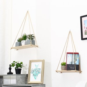 Wooden Flower Pot Rack Storage Rack Room Storage Organization Swing Shelf Home Wall Hanging Decor