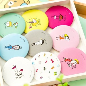 Korean New Cartoon Small Round Mirror Creative Portable Mirror Portable Makeup Mirror Cute Girl Small Mirror