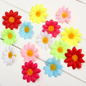 50pcs Silk Artificial Daisy Flowers Heads Home Wedding Decors