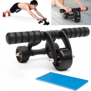3 Wheels Abdominal Wheel Roller +Knee Pad +Floor Stopper Muscle Training Home Gym Fitness Equipment