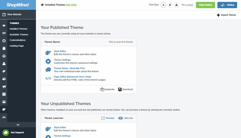ShopWired Customise Theme