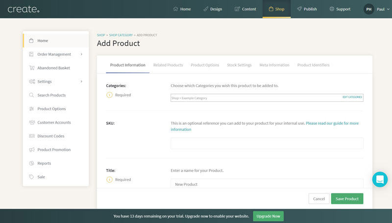 Create Add New Product