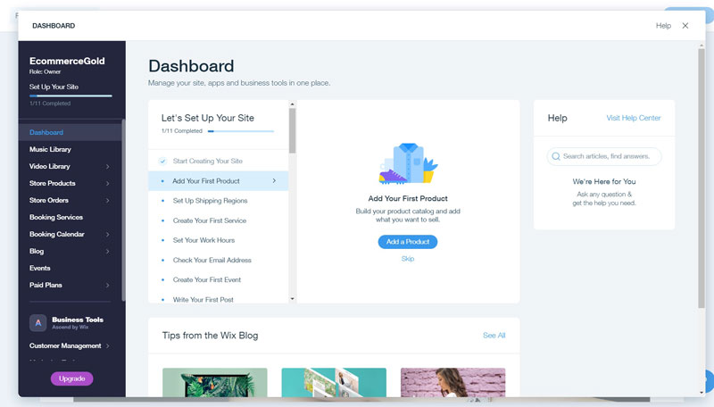 Wix Set up Dashboard